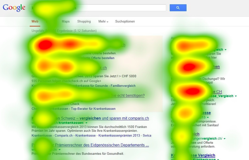 A Google search results page is overlaid with heat map data.