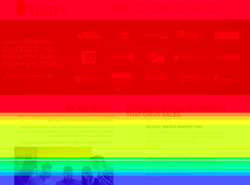 Bands of color in a heat map overlaid on a webpage shows where visitors scrolled.