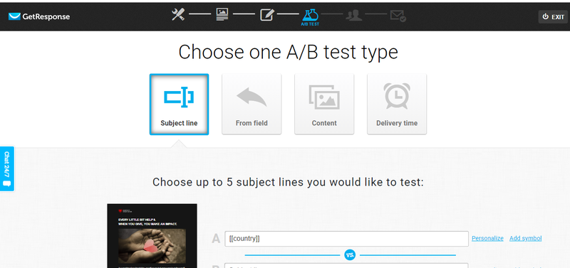 GetResponse A/B test function with 5 different subject line options