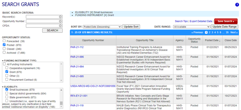The search tool on the federal grants database at grants.gov.