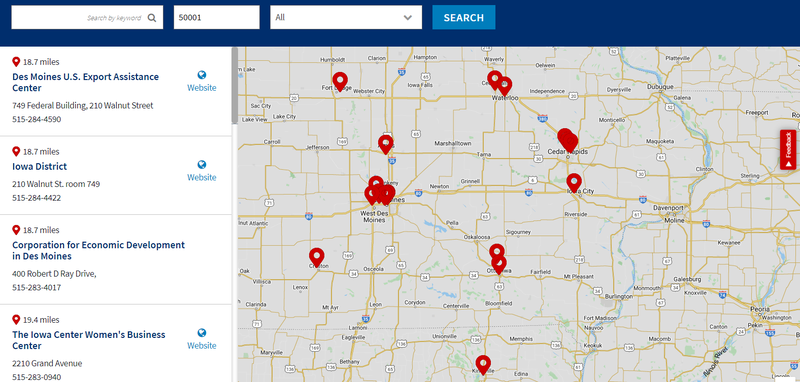 SBA's local office search results.