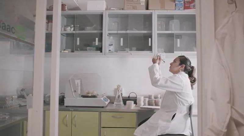 Adriana Luna Diaz, the creator of Tierra de Monte earth-friendly farming products, working in her lab.