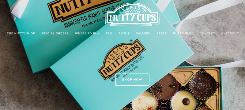 The website for Jessie's Nutty Cups.