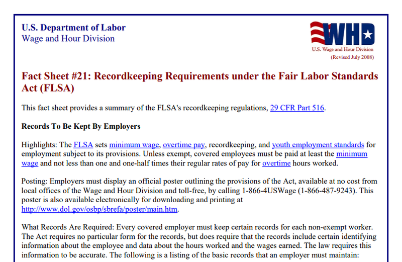 A Department of Labor fact sheet on FLSA recordkeeping requirements.