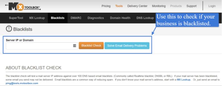 MxToolBox's blacklist checker