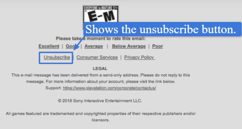 Email newsletter with unsubscribe link
