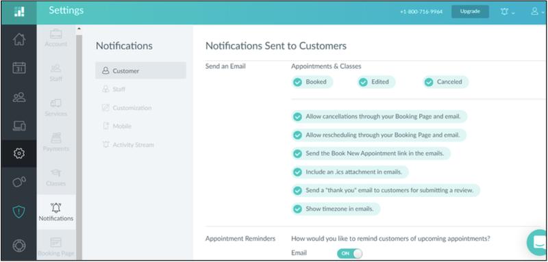 The screenshot shows customer notification options on Setmore.