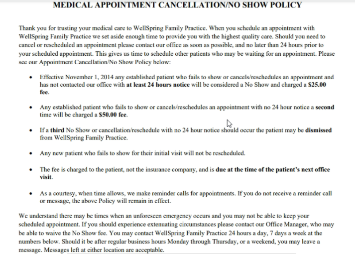 A cancellation/no-show policy from WellSpring Family Practice outlining the guidelines and fees associated with a missed appointment.