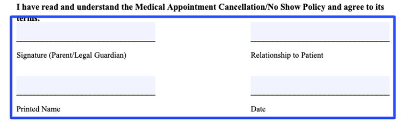 The section patients need to sign to signify agreement to the cancellation and no-show policy terms.