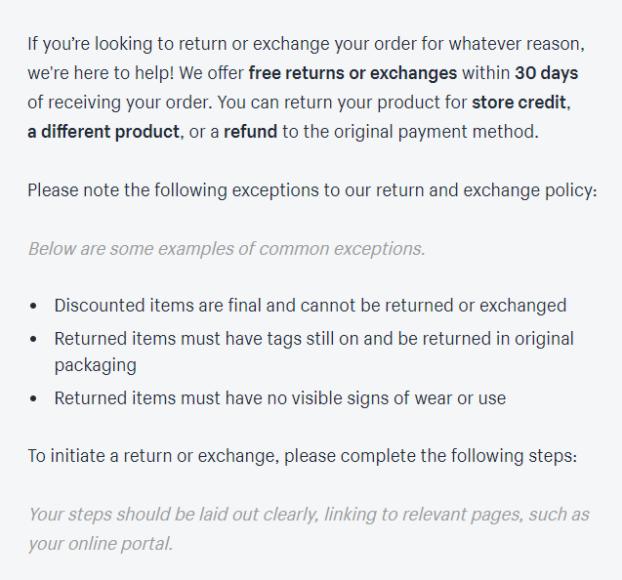 Shopify return policy