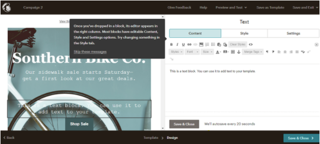 Mailchimp's email campaign editor tool