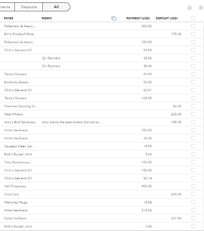 The reconcile sheet with total payments, deposits, and payees.