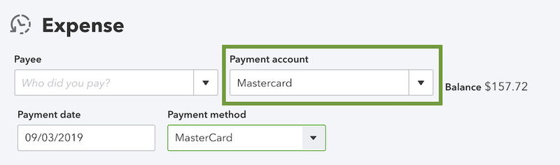 The expense feature in QuickBooks Online.