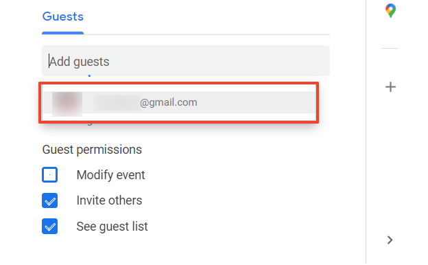 The image shows where you can add your guests' email addresses.