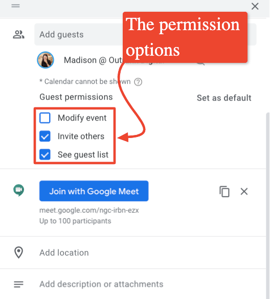 The screenshot shows guest permission options.