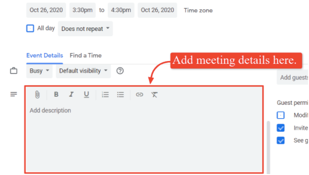 The screenshot shows where you can add the meeting description and details.