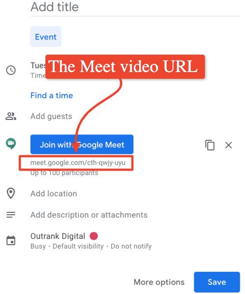 The screenshot shows the Google Meet video URL.