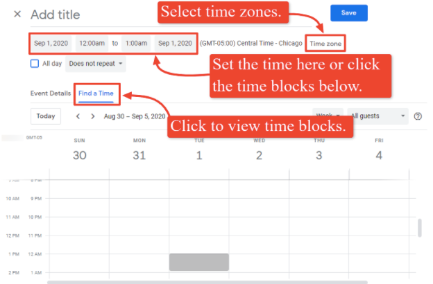 The screenshot shows the time and date options to set your event schedule.