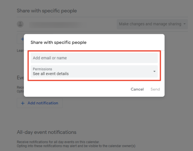 The image shows the event sharing and permissions settings.