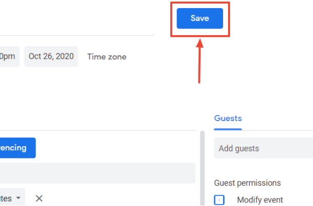 The image shows the Save button on the event creation settings page.