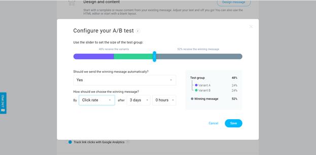 A screenshot of GetResponse's A/B testing options.
