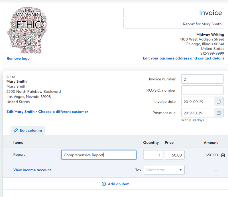 Example template for invoice