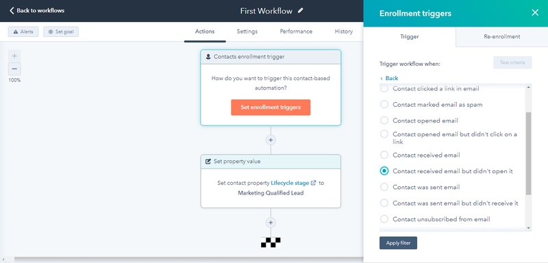 HubSpot Marketing Hub email automation workflow