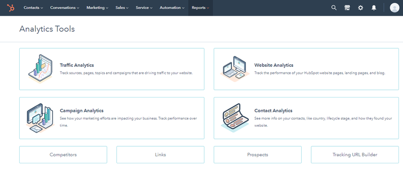 HubSpot CMS Analytics Tools screen with buttons for traffic analytics, website analytics, campaign analytics, etc.