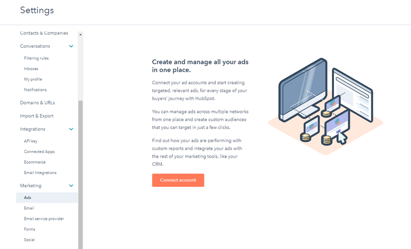 HubSpot CMS Ad hub screen with prompt to connect account to manage all ads in the hub.