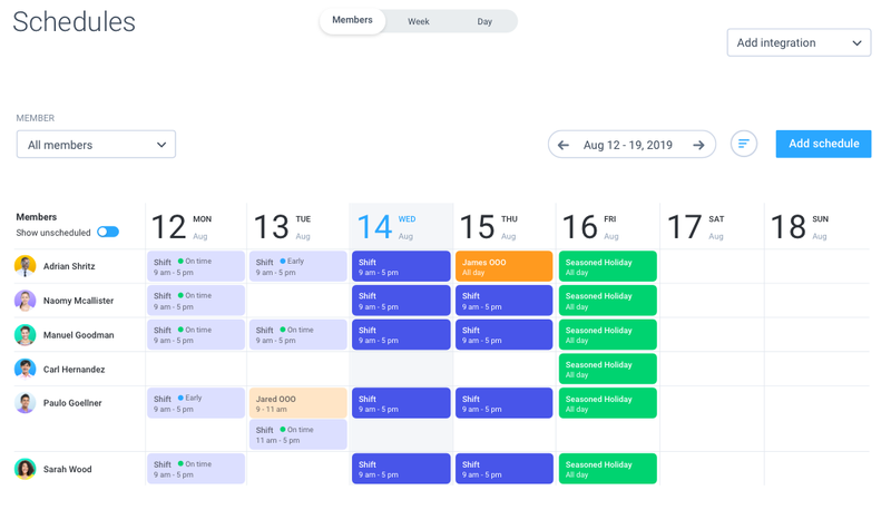 Hubstaff schedule calendar view with each row and color for each employee