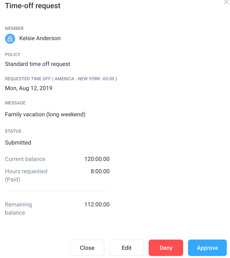 Hubstaff time off request form which shows name of employee, dates, a message, and status of request
