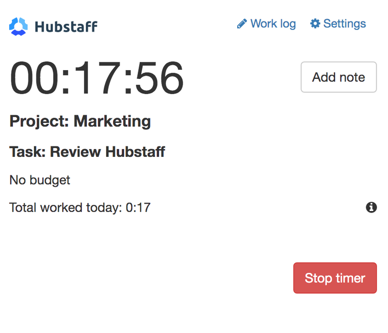 Hubstaff timer reading 17 minutes and 56 seconds that shows what workers spent this much time on.