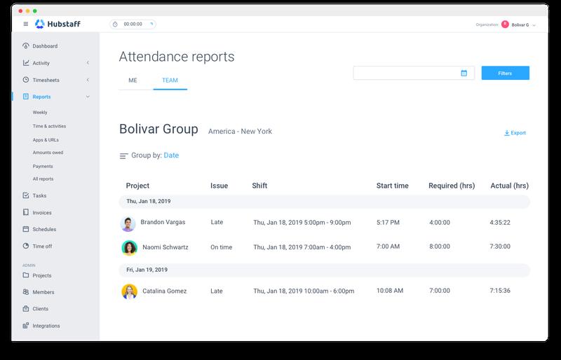Hubstaff Attendance Management