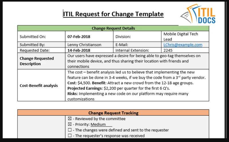 This sample RFC includes different types of information the CAB and change manager require to approve or deny the change request.