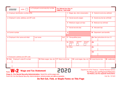 Image of the Form W-2
