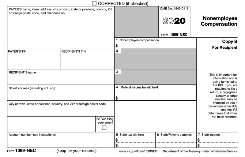 A portion of IRS Form 1099-NEC, nonemployee compensation.