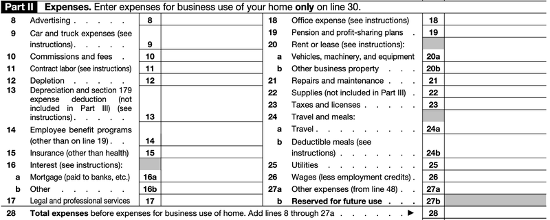 Part two of Form 1040 Schedule C, profit or loss from business.