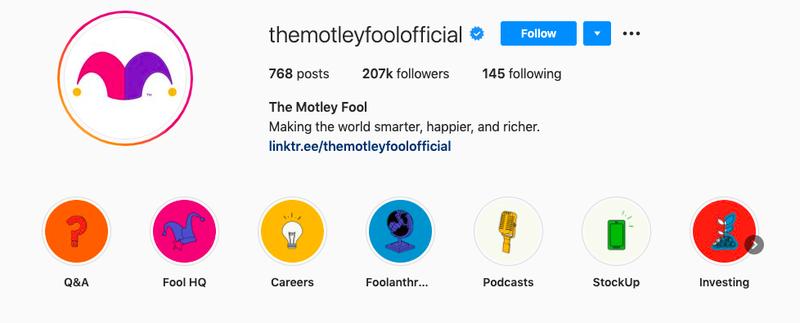 The Motley Fool Instagram homepage.