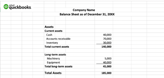 QuickBooks balance sheet showing current assets and long-term assets.