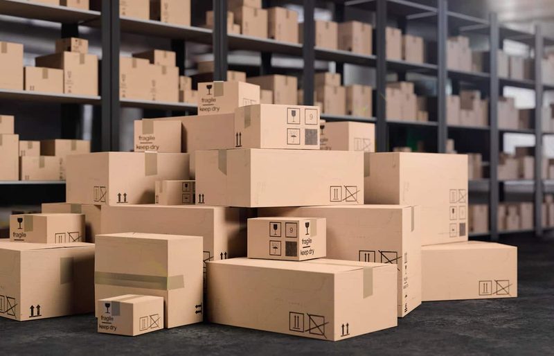 a warehouse full of boxes of all sizes.