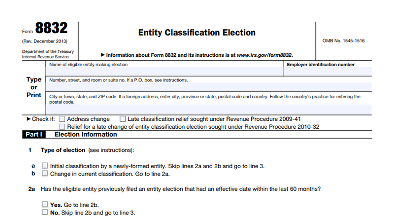 Screenshot of IRS Form 8832, Entity Classification Election