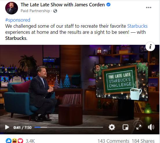 Picture of James Corden's Starbucks challenge promotion.