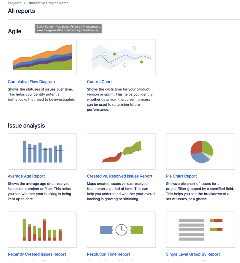 Jira report page which lets you select a type of report to present data.