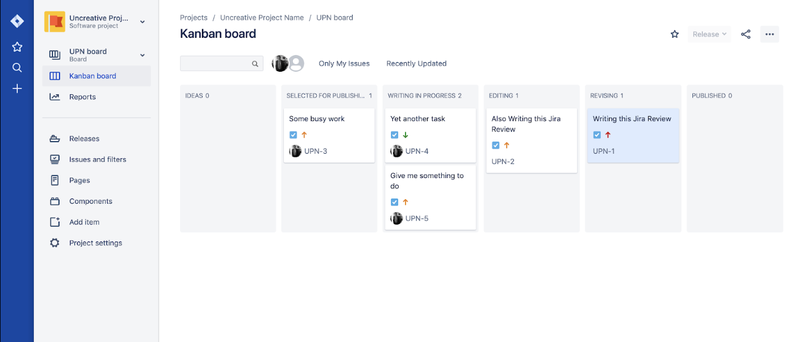 Jira kanban board view with sample projects in different columns