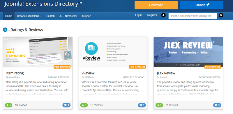 Joomla extensions directory with featured extensions with descriptions, rating, and cost information.