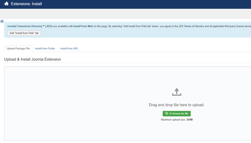 Joomla extension installation page with an option to drag-and-drop the extension or browse folder to upload.