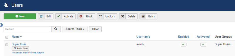 Joomla user permission page with options to add, edit, activate, block, and unblock from a table of users.
