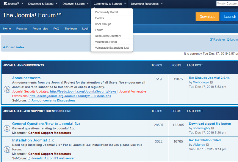 Joomla forum page with different boards listed with title, description, topics, posts, and last post on each board.