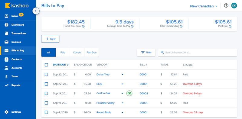 The Bills to Pay feature with date due, vendor, and status.