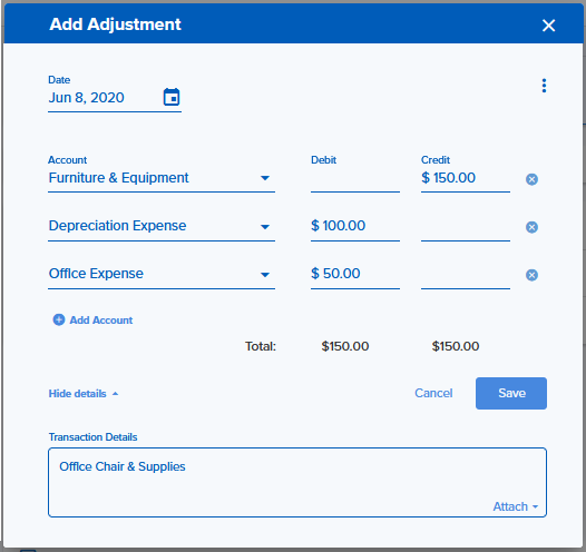 The Add Adjustment feature with account, debit, and credit totals.